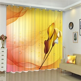 3D Elegant Music Notation with Golden Leaves Printed Romantic Scenery Decorative Curtain
