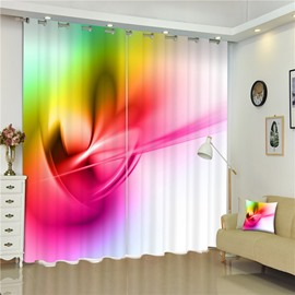 3D Abstract Patterns Printed Living Room and Bedroom 2 Pieces Polyester Curtain