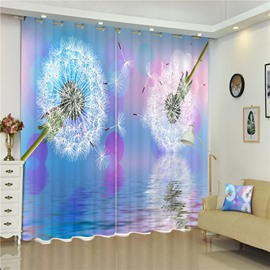 3D White Dandelions and Light Blue Background Printed 2 Panels Curtain