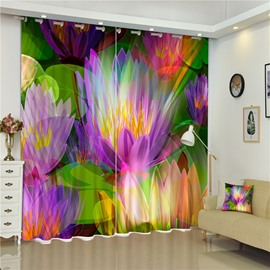 3D Colorful Lotus Dreamy Color Printed Living Room and Bedroom 2 Panels Curtain