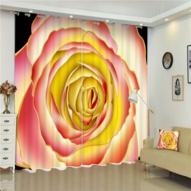 3D Colorful Rose Printed Elegant and Honorable Pattern Living Room Decorative Curtain