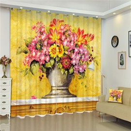 3D Beautiful Flowers in Delicate Vast Printed Retro Style Custom Living Room Curtain