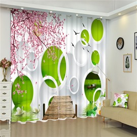 3D Pink Peach Flowers and Creative Round Circles with White Goose Printed Custom 3D Curtain