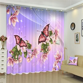 3D Flying Butterflies and Light Purple Flowers Printed Vivid Picture Decorative Curtain