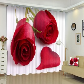3D Romantic Red Rose and Petals Printed Modern Style 2 Pieces Window Decorative Curtain