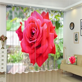 3D Vivid Red Rose Printed Living Room and Bedroom Decorative and Blackout Window Curtain
