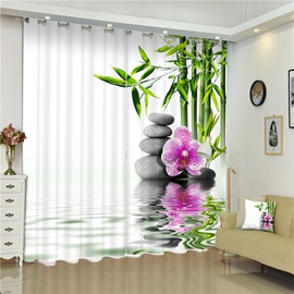 3D Stone Flowers and Green Bamboos Printed 2 Pieces Bedroom Window Curtain