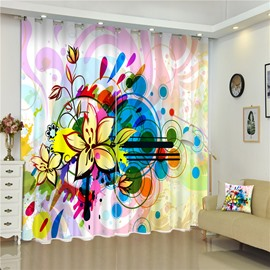 3D Flowers Printed Creative and Pastoral Style Living Room and Balcony Curtain