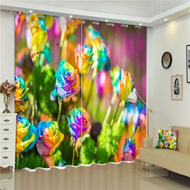 3D Abstract Roses Printed Bright Colored Living Room Window Decorative Curtain