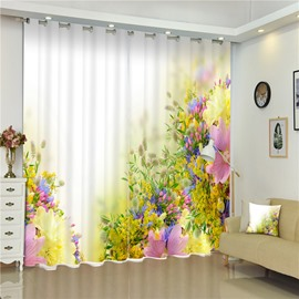 3D Golden Flowers and Pink Rose with Beige Background Printed Elegant Style Room Curtain