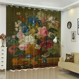 3D Colorful Peonies Printed with Flower Vast Retro Style Custom Living Room Curtain