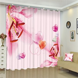 3D Peach Blossoms Pistils Printed Pink Style Decorative and Shading Custom Curtain