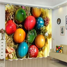 3D Colorful Glass Balls Printed Thick Polyester 2 Panels Grommet Top Curtain