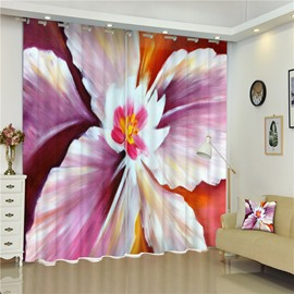 3D Big Lily Flowers Printed Thick Polyester Decorative and Blackout Window Curtain