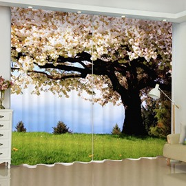 3D Old White Flowers Tree and Grassland Printed 2 Panels Custom Curtain