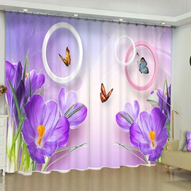 3D Elegant Purple Phalaenopsis Printed 2 Panels Custom Curtain for Living Room and Bedroom