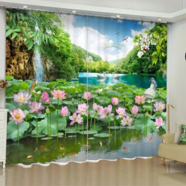3D White Gooses and Lotus with Rainbow Printed Custom Curtain for Living Room Curtain