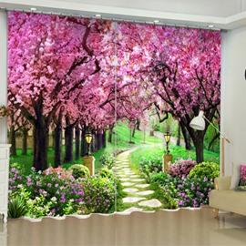 3D Pink Peach Flowers Printed 2 Panels Romantic and Decorative Custom Curtain