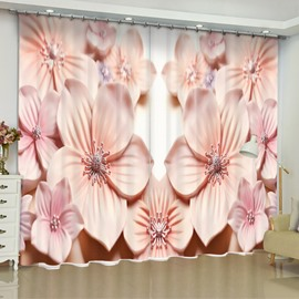 3D Artificial Pink Peach Flowers Printed Elegant and Modern Living Room Curtain