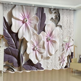 Artificial Elegant Beige Flowers Printed Custom Living Room 3D Curtain