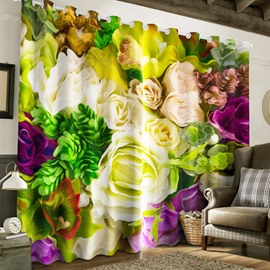 3D White Roses Red Flowers Printed Pastoral Style Living Room Window Curtain