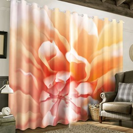 Creative and Abstract Pink Flower Printed 2 Panels Living Room 3D Curtain