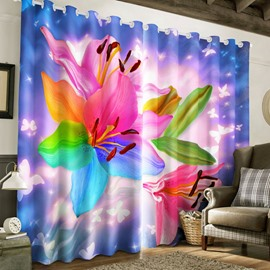 3D Colorful Lily Flowers Printed 2 Panels Custom Living Room Window Curtain