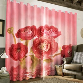 3D Red Roses Printed Pastoral Style Tencel Materials 2 Panels Custom Grommet Top Curtain
