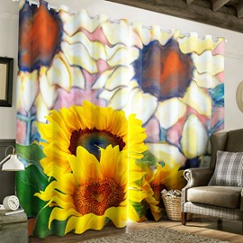 3D Fresh Sunflowers Printed Pastoral Style Tencel Materials Custom Living Room Curtain
