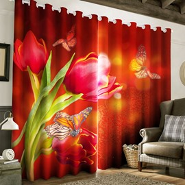 3D Red Peonies and Butterflies Printed 2 Panels Living Room Curtain