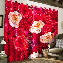 3D Romantic Red Roses Printed 2 Panels Grommet Top Custom Window Curtain