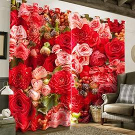 Romantic Red Roses Printed 2 Panels Grommet Top Custom 3D Curtain