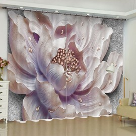 3D Elegant Light Purple Stone Flowers Printed 2 Panels Living Room Curtain