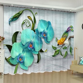 3D Wonderful Phalaenopsis and Lovely Bird Printed Custom Polyester Grommet Top Curtain