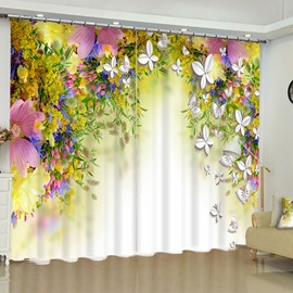Best selling 3d floral curtain flower curtains shopping beddinginn 54 3d pink flowers and butterflies printed pastoral style 2 panels custom window curtain mightylinksfo