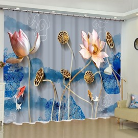 3D Elegant Carved Lotus Printed 2 Panels Living Room and Bedroom Curtain