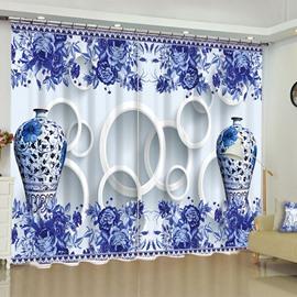 3D Elegant Blue and white Porcelain Printed 2 Panels Custom Bedroom Window Drape