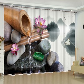 3D Lotus Stones and Bamboo Tube with Following Water Printed 2 Panels Living Room Curtain