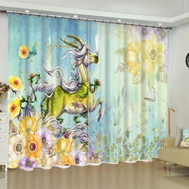 3D Flying Horse with Two Horn and Flowers Printed Oil Painting Custom Living Room Curtain