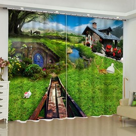 3D Wonderful Wooden House and Green Grassland with Deer Printed Custom Curtain