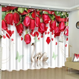 3D Romantic Red Roses Printed 2 Panels Polyester Custom Living Room Curtain