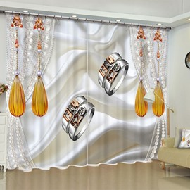 3D Delicate Two Diamond Rings Printed Custom Polyester 2 Panels Living Room Curtain