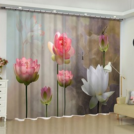 3D Fresh and Vivid Lotus Printed Polyester Custom Living Room Window Drape