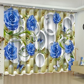 3D Blue Roses and White Circles Printed 2 Panels Custom Living Room Curtain