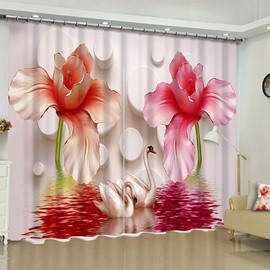 3D Light Red Peonies and White Gooses Printed 2 Panels Decorative Custom Curtain