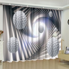 3D White Balls Printed 2 Panels Custom Living Room Blackout Window Drape