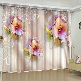 3D Pretty Flowers Printed Pastoral Style 2 Panels Living Room Blackout Curtain