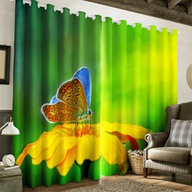 3D Butterfly on the Golden Flower Printed 2 Panels Living Room and Bedroom Curtain