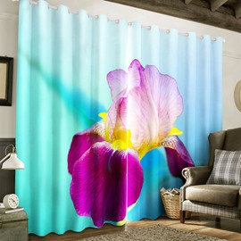 3D Purple Flower Printed Pastoral Style Thick Polyester Custom Living Room Curtain