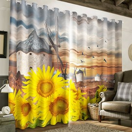 Vivid Golden Sunflowers and Flying Birds Printed 2 Panels Living Room Curtain